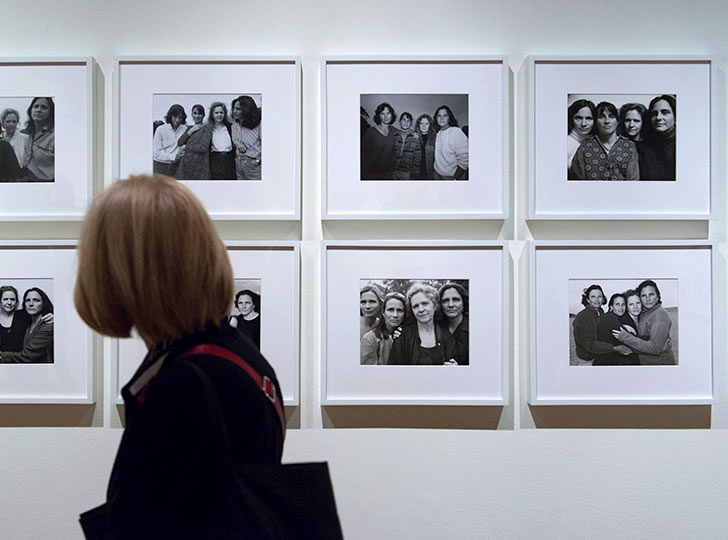 """""""Installation view of Counterpoints, 2016. Nicholas Nixon, The Brown Sisters, 1975-ongoing. 41 gelatin silver contact prints. Collection of Kate and Steve Foley. Image credit: Henry Chan"""""""