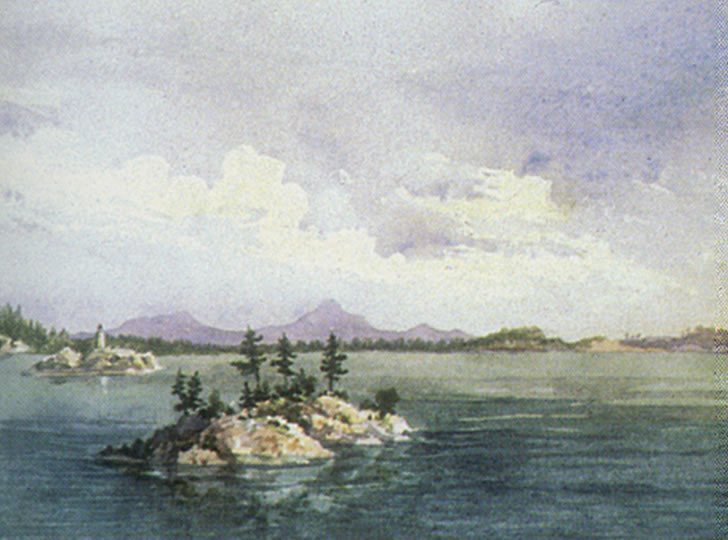 """Sir Daniel Wilson, Marquette, Lake Superior, 1855. Watercolour and pencil on paper. 14 x 23 cm"""