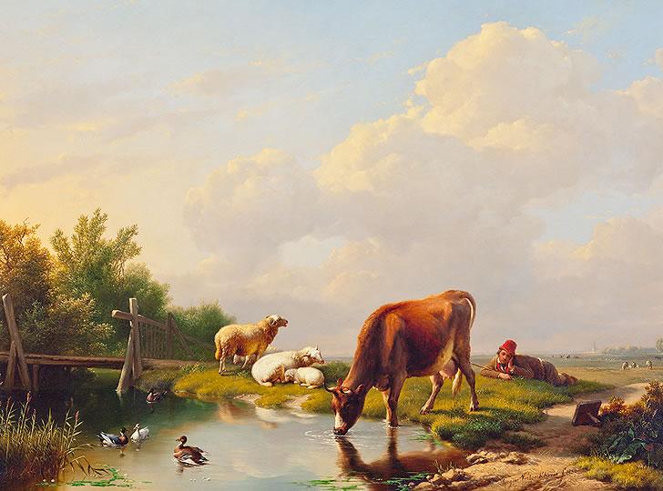 """Eugène Verboeckhoven, Untitled (Landscape with animals at a pond), 1850. Oil on canvas. 43 x 57 cm"""