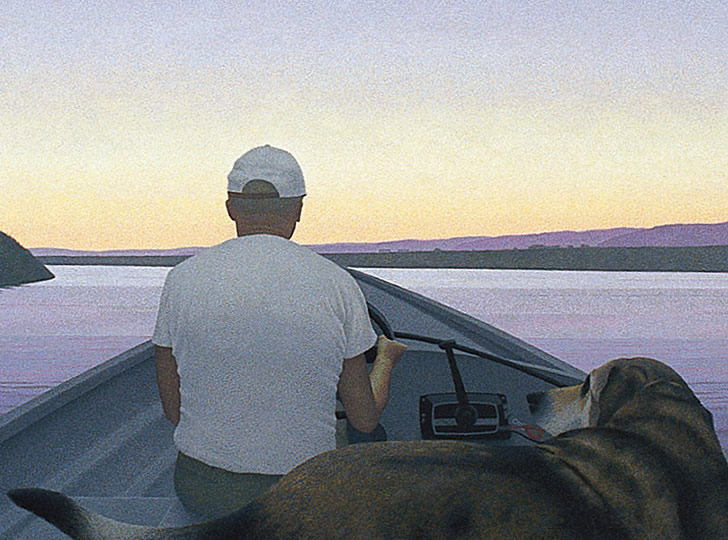 """Alex Colville, On a River, 1996. Acrylic polymer emulsion on hardboard. 48 x 111 cm"""
