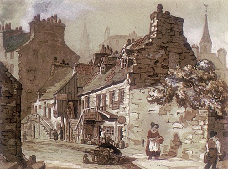 """Sir Daniel Wilson, Low Calton, Edinburgh, 1840-1850s. Watercolour on paper. 19 x 26 cm"""