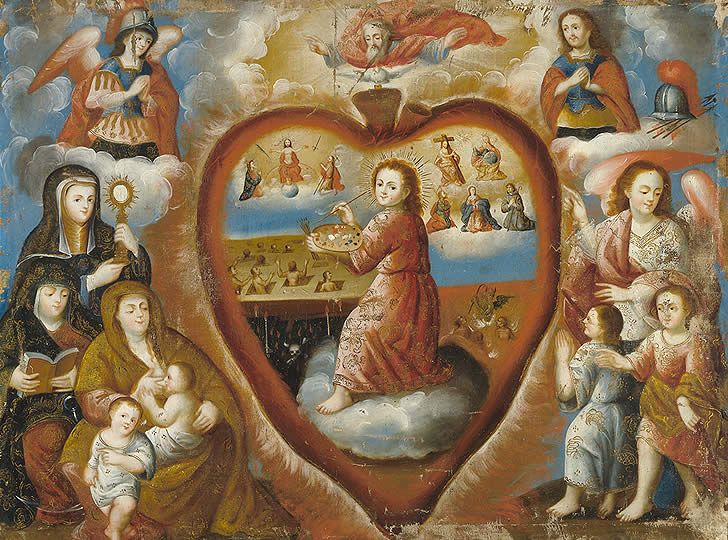 """""""The Christ Child Painting the Four Last Things, late 17th – early 18th century. Oil on canvas. 86 x 112 cm"""""""