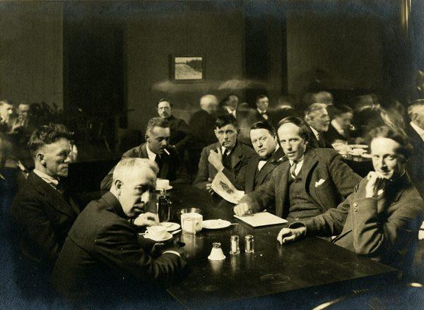 Frederick Varley, A.Y. Jackson, Lawren Harris, Barker Fairley, Frank Johnston, Arthur Lismer, and J.E.H. MacDonald,