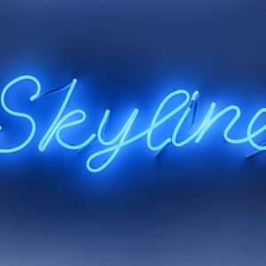 """Laurel Woodcock, Skyline, 2013. Blue neon. Courtesy of the artist and MKG12"""