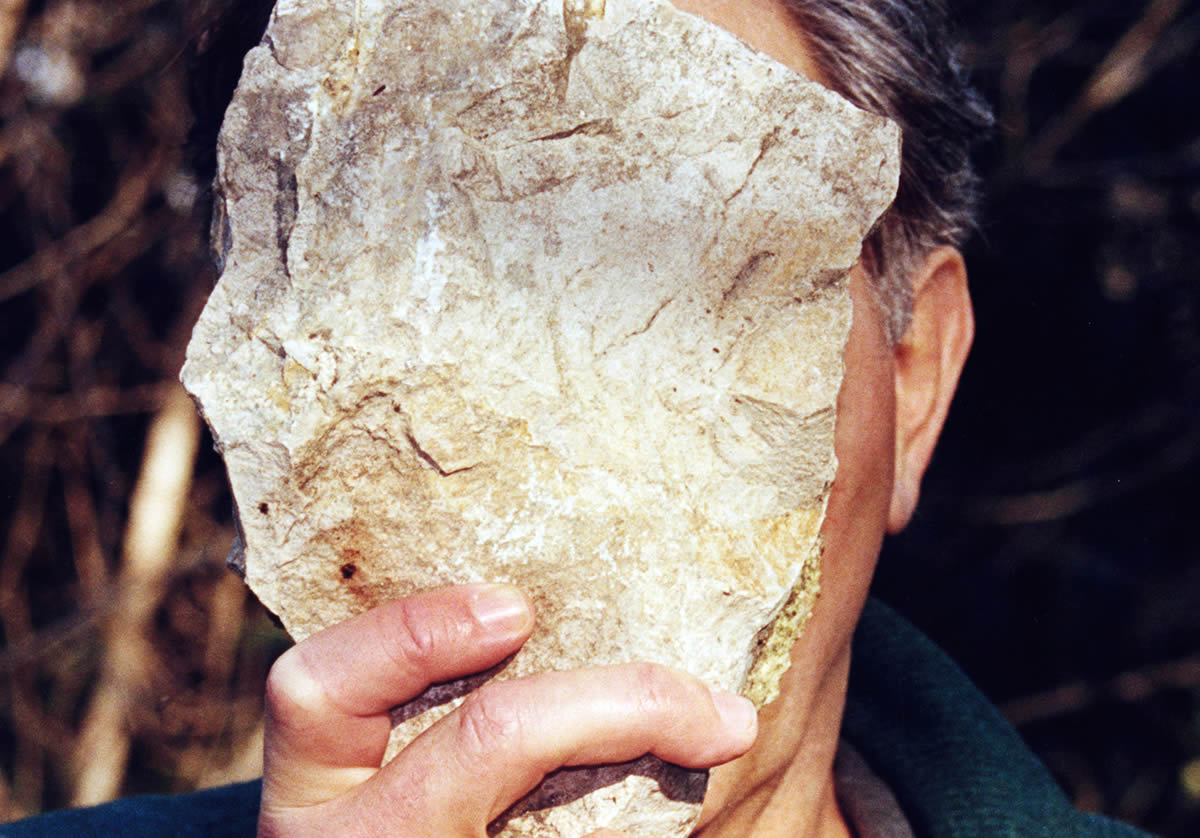 Man holding rock in front of face