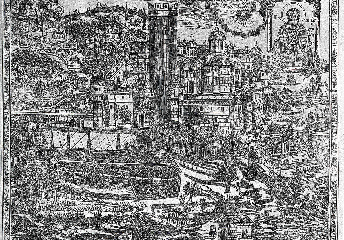 Copper engraving of village, castle and boat