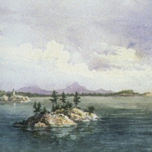 """Sir Daniel Wilson, Marquette, Lake Superior, 1855. Watercolour and pencil on paper. 14 x 23 cm"""