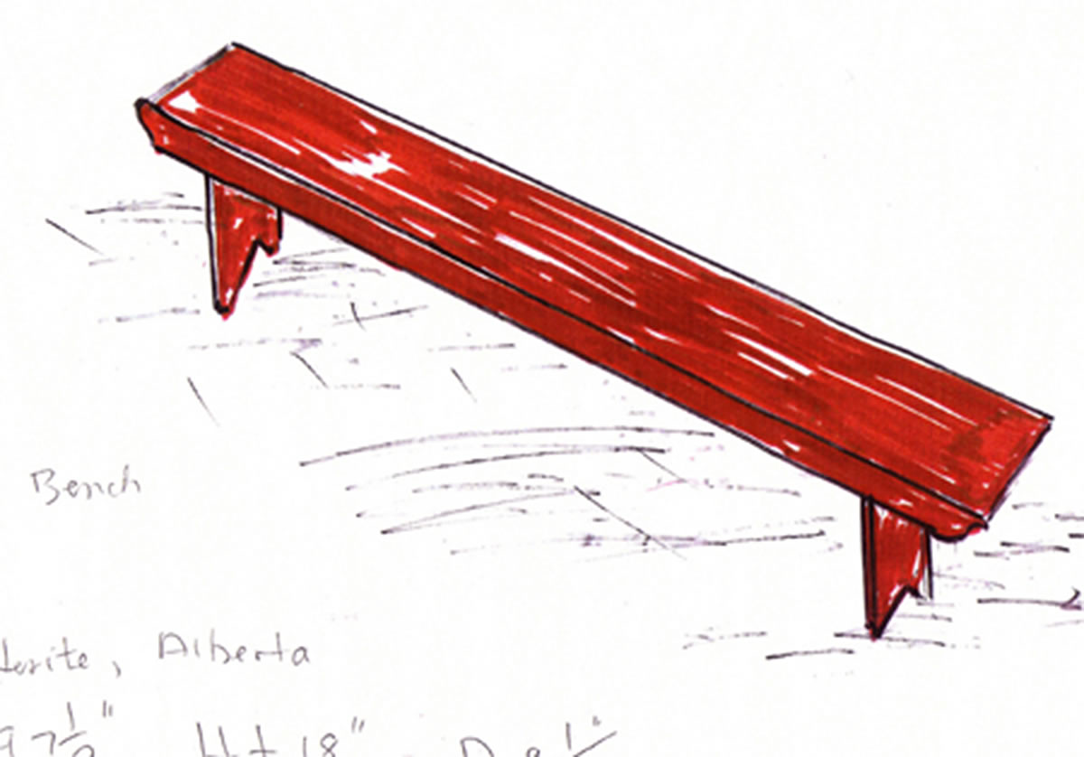 Sketch of red bench