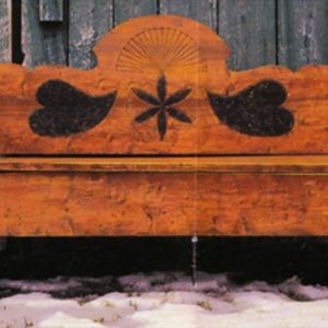Wooden bench with black pattern