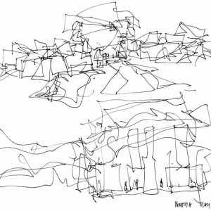 Two abstract drawings of museums