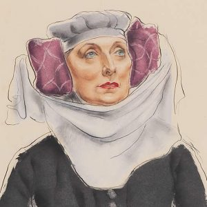 """Grant Kenneth Macdonald, Dame Sybil Thorndike as Mistress Quickly in King Henry IV, 1946. Ink and watercolour on paper. Agnes Etherington Art Centre, Queen's University, Kingston. Gift of the McLean Foundation, 1990"""