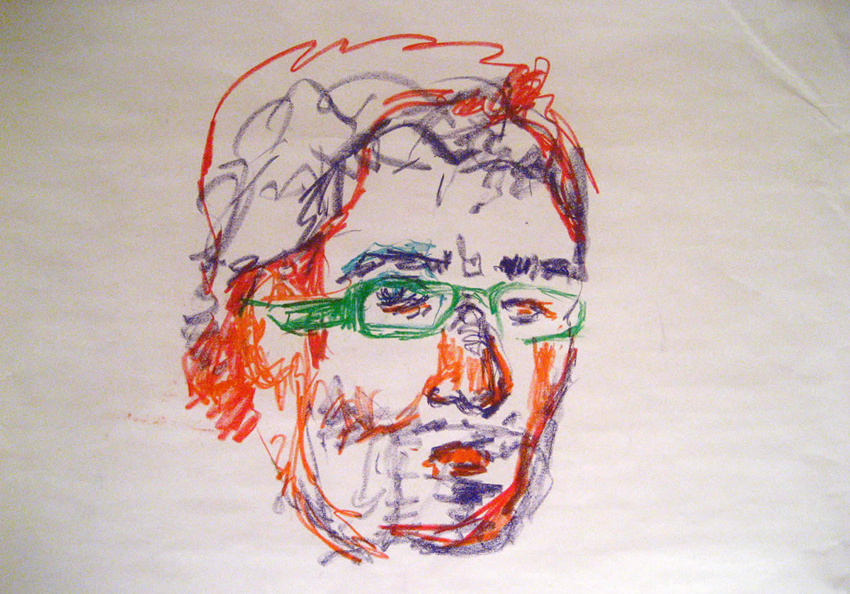 Drawing of man wearing glasses
