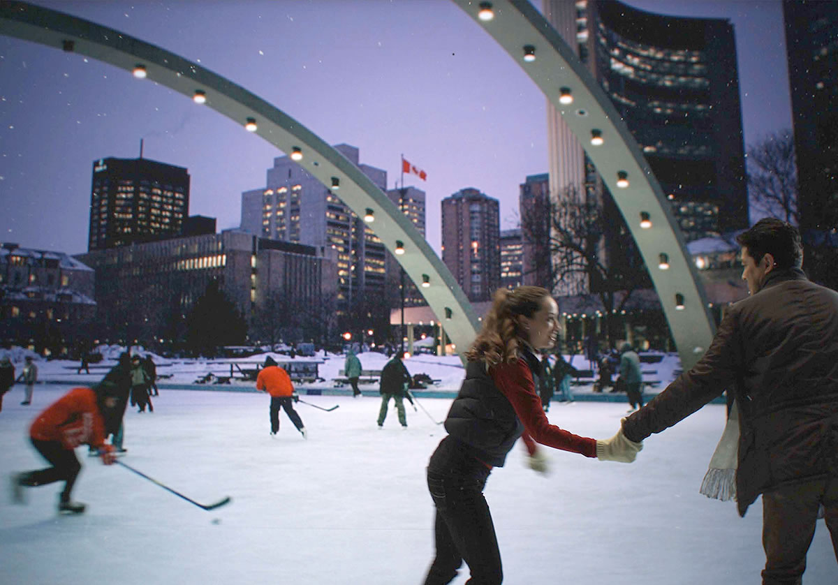 Skaters on Ice Rink in Nathan Phillips Square