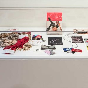 Display case with various sex-related items