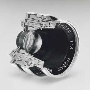"""Christopher Williams, Cutaway model Switar 25mm f1.4 AR. Glass, wood and brass. Photography by the Douglas M. Parker Studio, Glendale, California, November, 17, 2007–November 30, 2007, 2008. Gelatin silver print. Collection of Phil Lind"""