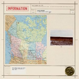 """Sheet with picture of canadian map, a stamp that reads """"Information"""" and a gold seal"""