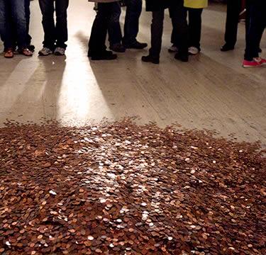 Pile of pennies on floor