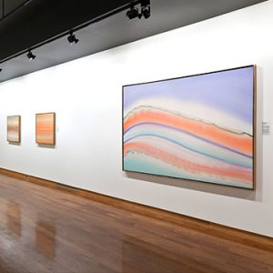 Pastel colored abstract paintings on display