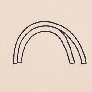 Sharpie drawing of two arcs around each other