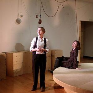 Two women in gallery