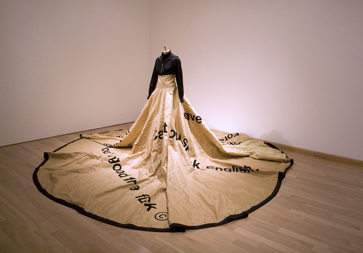 Dress with long skirt with various text on it