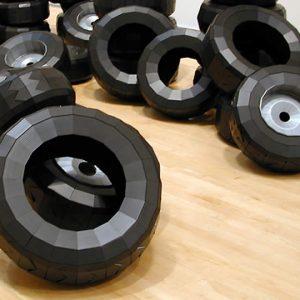 Black tires in gallery