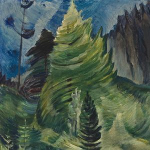 Abstract painting of green trees in forest