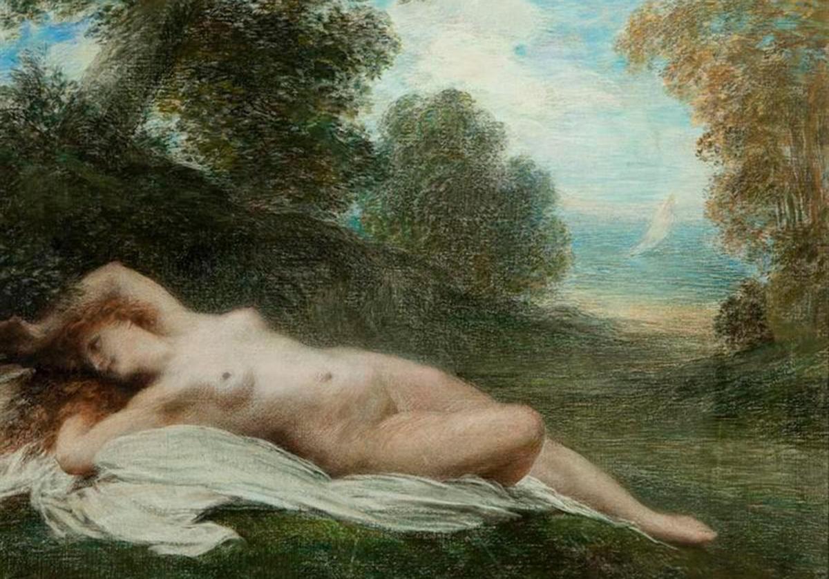 Painting of nude woman in field near ocean