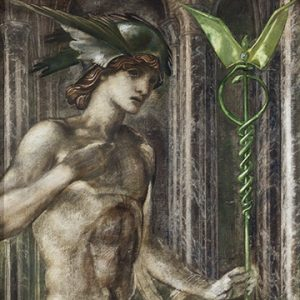 """Sir Edward Burne-Jones, Mercury and Love, 154 x 43 cm. Oil, chalk and watercolour on canvas. Gift of Mrs. Augustine Fitzgerald, 1932"""