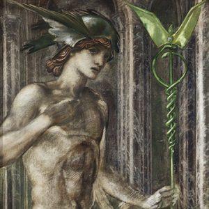 Roman God Mercury and his caduceus