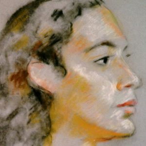 """Herman Heimlich, untitled (portrait of the artist's niece, Rhoda). Charcoal and chalk pastel"""