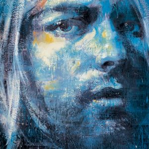 Blue painting of Kurt Cobain