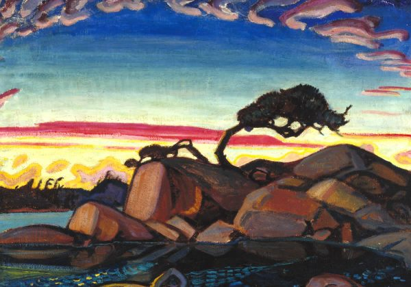 """Arthur Lismer, Evening Silhouette, Georgian Bay, 1928. Oil on canvas. 80 x 101 cm. University College Art Collection. Gift of H.S. Southam, 1947"""