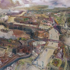 """""""John Hartman, The Thames Looking West from Above Tower Bridge, 2004. Oil on linen. 122 x 137 cm. Image credit: See Spot Run Inc"""""""