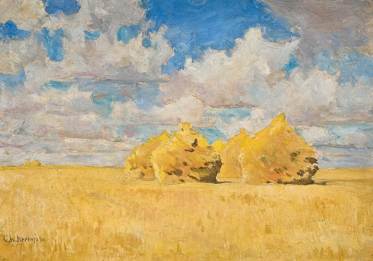 Painting of field of wheat under cloudy sky