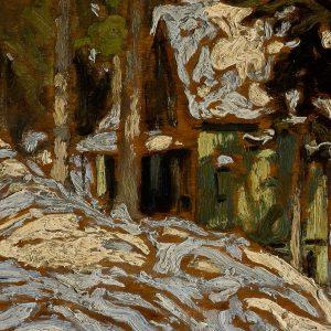 """""""Lawren Harris, Algonquin Park Cottage, 1914-1916. 27 x 35 cm"""""""