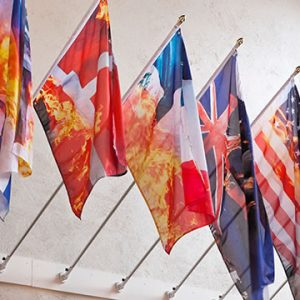 Flags with images of burning flags