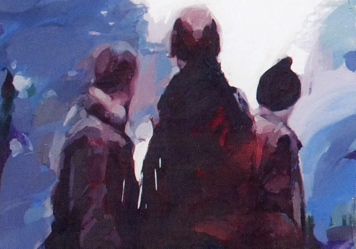 Painting of three figures looking away