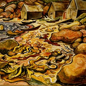 """Doris McCarthy, Red Rocks at Belle Anse, Gaspé, 1949. Oil on canvas. 61 x 69 cm"""