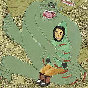 Drawing of girl in arms of large creature