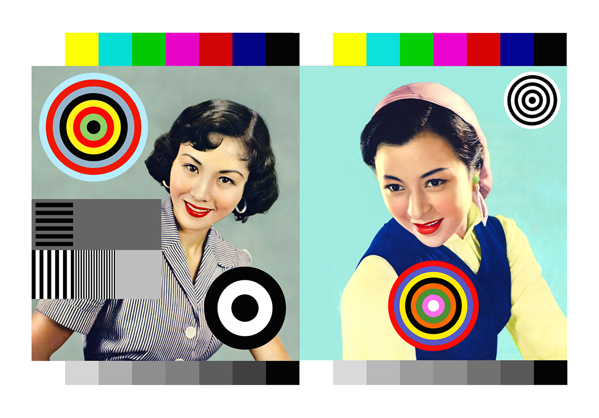 Print of Two women with colored circles and colour spectrum at top and bottom
