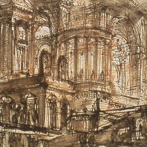 """Giovanni Battista Piranesi, A Fantastic Interior, 1750. Pen and brown ink with brown wash over red chalk on laid paper. 12 x 18 cm. Courtesy of the National Gallery of Canada"""