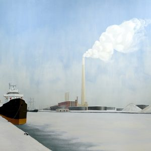 """Kim Ondaatje, Hearn Plant, Toronto Harbour, 1974. Acrylic, masking tape and mixed media on canvas. 163 x 214 cm. Collection of Art Gallery of Ontario, Gift of David L. McQueen, Uxbridge, Ontario, 2005"""