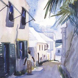 """Jack Bush, House & Figure, St. George's, 1939. Watercolour and pencil on paper. 46 x 61 cm"""
