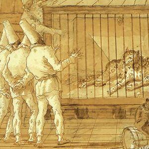 """Giovanni Domenico Tiepolo, Punchinello Visits a Circus, 1797-1804. Pen and golden-brown ink with golden-brown wash over black chalk on laid paper. 36 x 47 cm"""