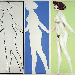 Four panels: Drawing of a naked woman next to her negative space, and her clothed self