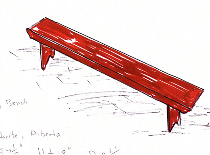 """Title and Page Image: Drawing of Hutterite Sitting Bench"""