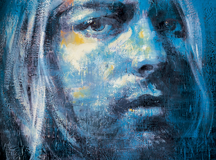 """Tony Scherman, Kurt Cobain (Blue Highway), 2001-2002. Encaustic on canvas. 244 x 213 cm"""