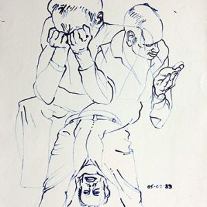 Three figure drawings overlapping