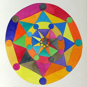 Multi-colour geometric pattern painted in a sketchbook